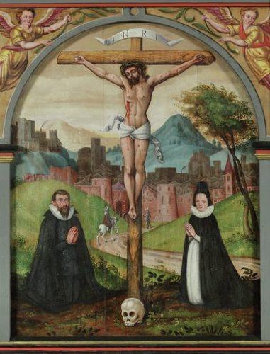 Część środkowa Ołtarza Ukrzyżowania z parą fundatorów, XVII wiek. Kościół Ewangelicko-Augsburski p.w. św. Jerzego, Pasłęk