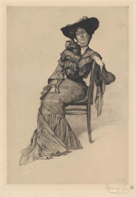 Ignacy Łopieński, Dama w czerni, 1905, sucha igła, papier