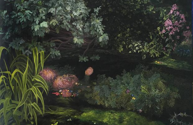 Sadzić pośród ruin świeże kwiaty, 2018, olej na płótnie, 100 x 170 cm