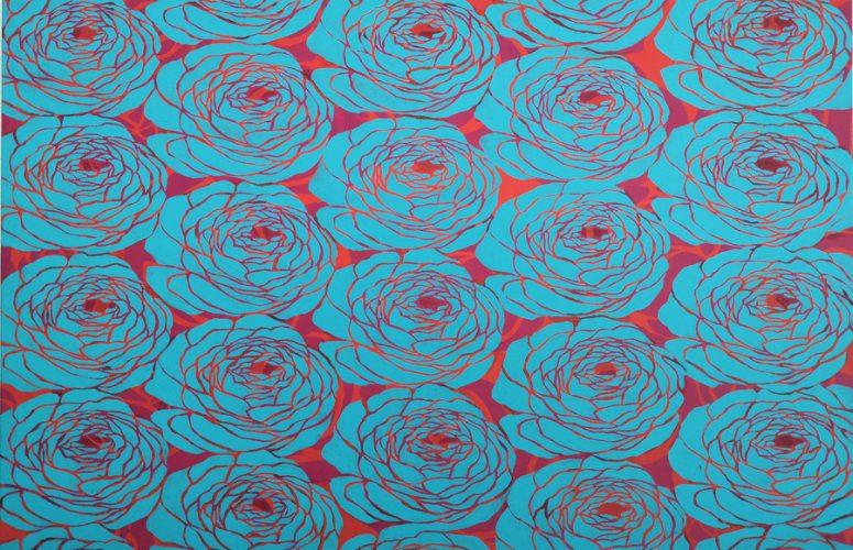 Dorota Sak, z cyklu Milion róż, 2019, akryl, 60 x 90 cm