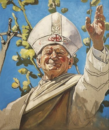 The Krasnals, Whielki Krasnal, Papież Jan Paweł II leworęcznie błogosławiący, 2011, olej / płótno, 55 × 46 cm, kolekcja prywatna