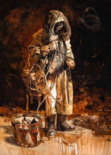 Andrzej Boj Wojtowicz, Apocalyptic homo, płótno / tempera grassa, 190 x 131 cm