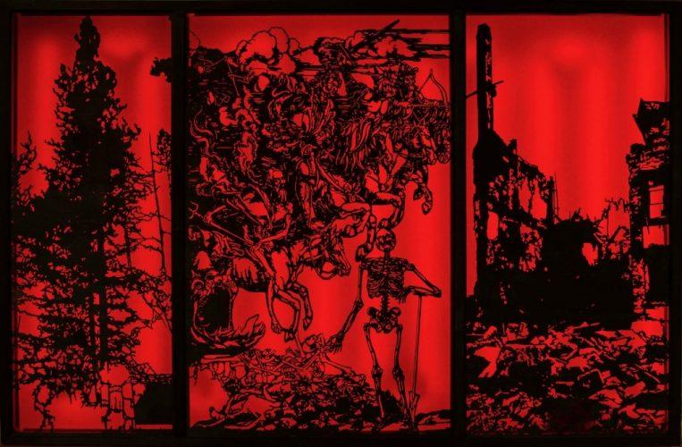 Steen Rasmussen, Czy stajemy się mądrzejsi? - znak Apokalipsy, sklejka / LaserCut / akrylplate LED Light, 145 x 93 x 9,5 cm, 2019
