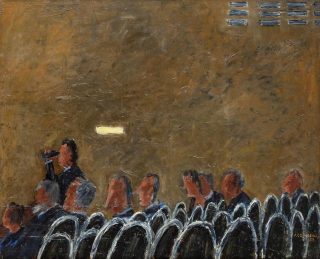 """Józef Czapski, """"Na widowni"""", 1959, olej na płótnie"""