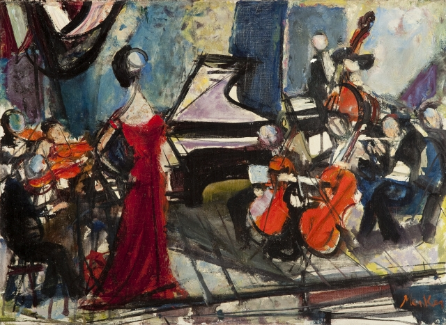"Zygmunt Menkes, ""Koncert"", olej na płótnie"