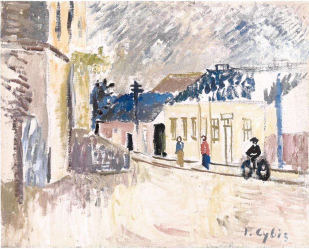 Jan Cybis, Szkoła w Starym Sączu, 1958, olej na płótnie, 65x81 cm