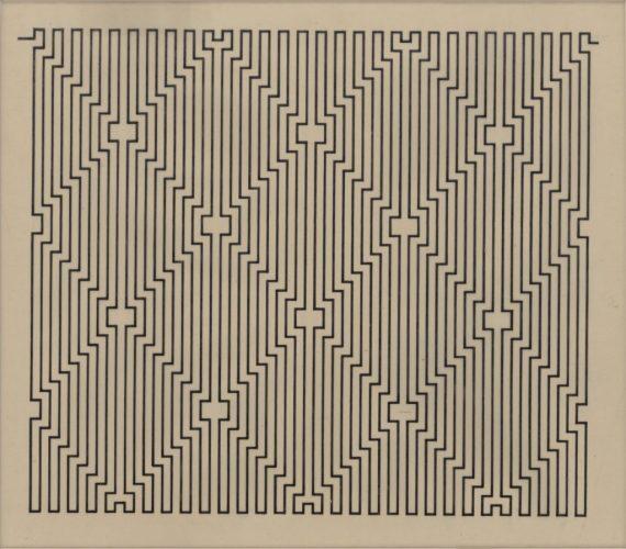 """Wacław Szpakowski, """"B 6"""" z serii """"B"""", rysunek tuszem na kalce technicznej, 1924, z kolekcji Muz eum Sztuki w Łodzi"""