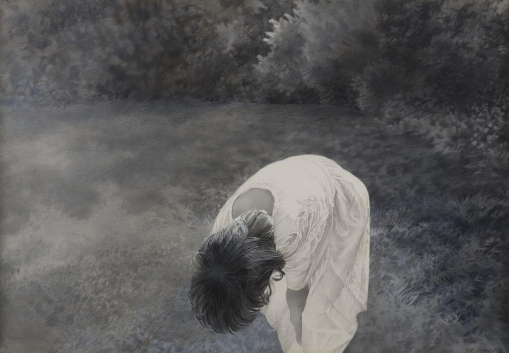 Halina Cader, Joasia, z cyklu Portrety | 1984, akryl, kredka / papier, 70 × 100 cm, courtesy H. Cader