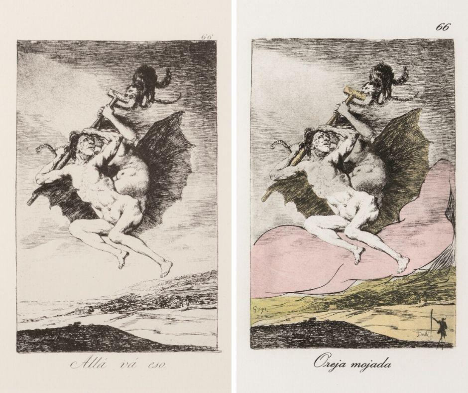 Akwaforta Swój niesie swego z cyklu Kaprysy (po lewej Goya, po prawej z komentarzem Dalego)