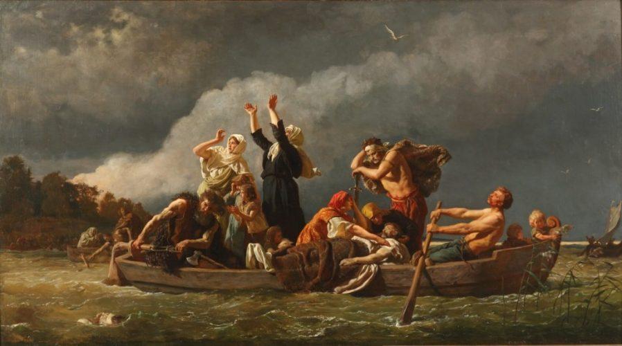 Wojciech Gerson, Bez ziemi. Pomorzanie wyparci przez Niemców na wyspy Bałtyku   1888, Muzeum Narodowe w Szczecinie