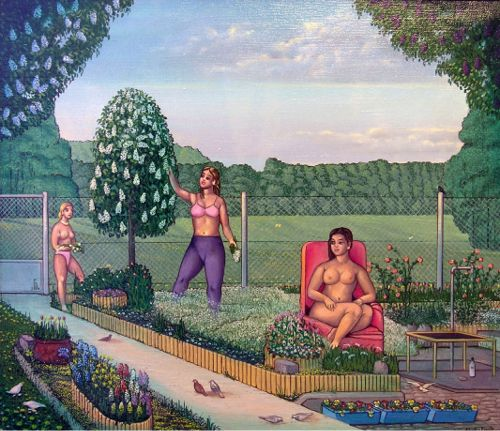 Erwin Sówka, W ogrodzie    2001, olej, płótno