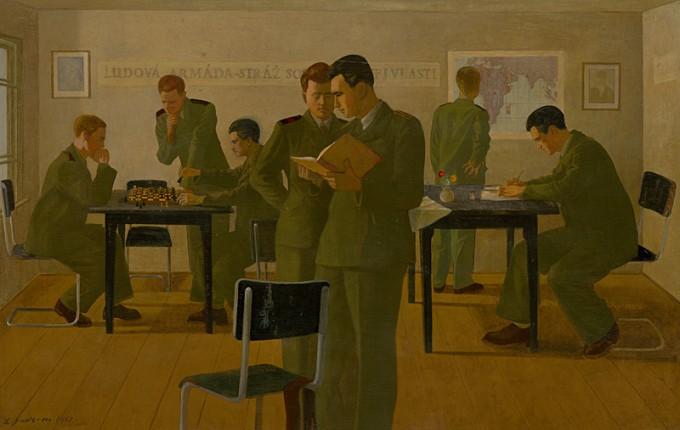 Ladislav Guderna, Żołnierze w sali klubowej, obraz, malarstwo, Niezła Sztuka