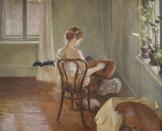 Jacek Malczewski, Wnętrze z chimerą grającą na gitarze, młoda polska, malarstwo XX w., niezła sztuka