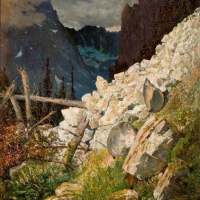 Wojciech Gerson Zwał skalisty w dolinie Białej Wody w Tatrach , pejzaż, malarstwo polskie, sztuka XIX w., Niezła Sztuka