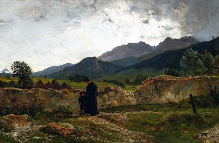Wojciech Gerson, Cmentarz w górach, pejzaż, malarstwo polskie, sztukaXIX w., Niezła Sztuka