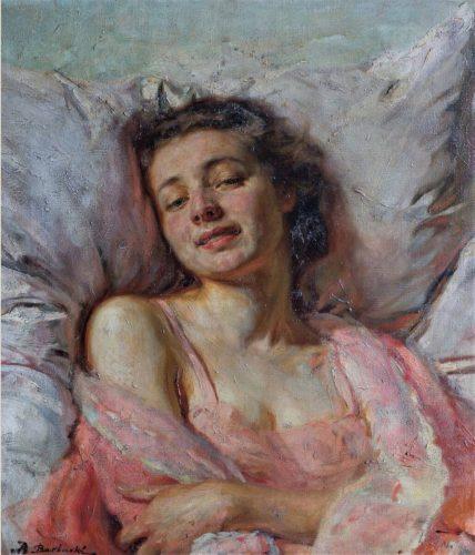 Bolesław Barbacki, Hela II na tle poduszki, malarstwo polskie, sztuka XX wieku, portret