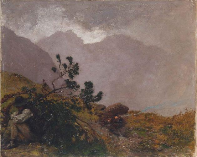 Wojciech Gerson Pejzaż tatrzański z góralem (Ulewa w Tatrach), pejzaż, malarstwo polskie, sztuka XIX w., Niezła Sztuka