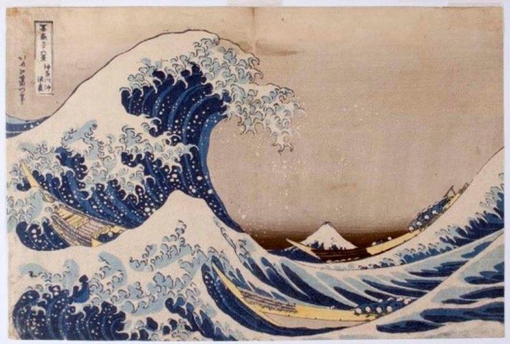 Wielka fala w Kanagawa Kanagawa-oki nami-ura, drzeworyt, sztuka japońska, Niezła Sztuka