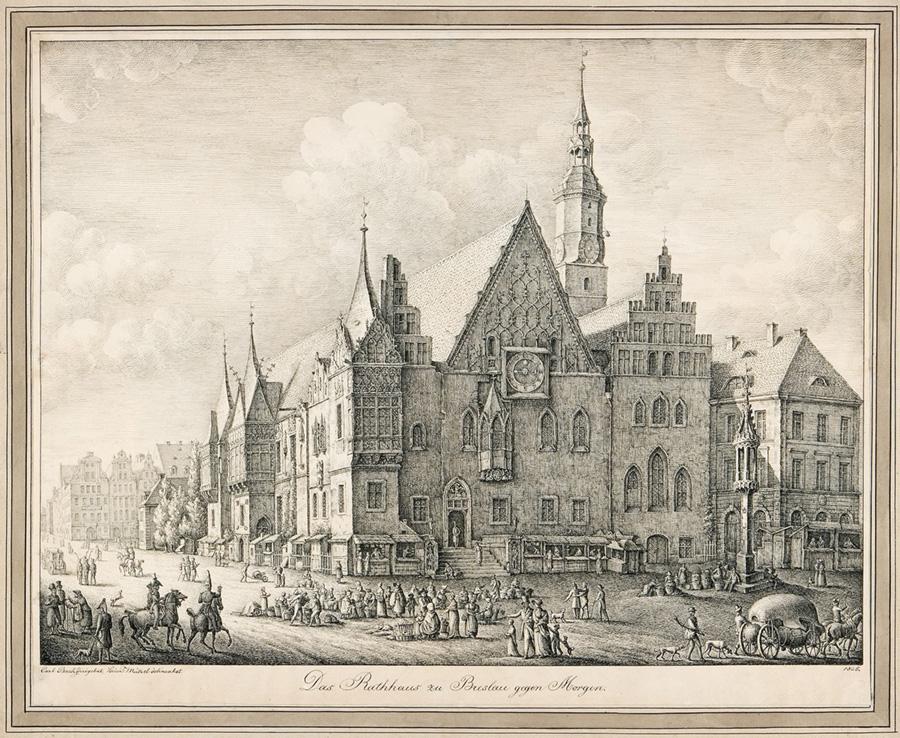 Heinrich Mützel, Ratusz we Wrocławiu - widok od południowego wschodu, rysunek, sztuka XIX w., Niezła Sztuka